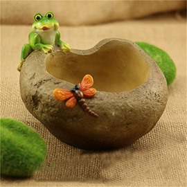 Imitation Stump Resin with Frog and Butterfly Home Decorations Creative Flower Pot
