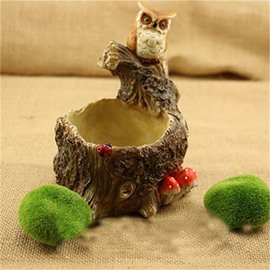 Imitation Stump Resin with Lovely Owl Decorations Creative Plant Pot