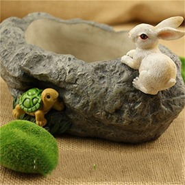 Imitation Stone Resin with Lovely Turtle and Rabbit Creative Plant Pot