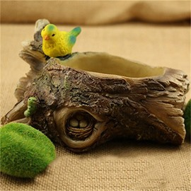 Corrosion Resistance Stone Imitation Resin with Lovely Birds Creative Plant Pot