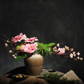 Pastoral Style Pink Camellias and Cherry Blossoms Artificial Flower Set