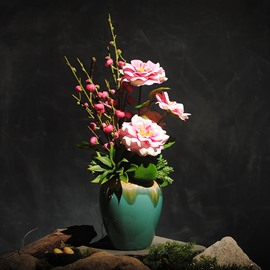 Cozy and Romantic Camellias and Plums Artificial Flowers Home Decorative Flowers Set