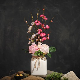 Fresh and Elegant Camellias and Plums Artificial Flowers Living Room Flowers Set