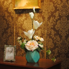 Fresh and Elegant Camellias and Orchids Home Decorative Flower and Vase