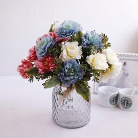 European Retro Style Peony Silk Artificial Flowers