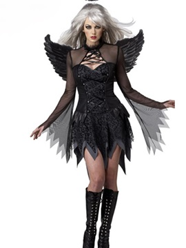 Vivid Sheer Sleeves Black Angel With Wings Costume