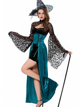 Tight Bust Bat Sleeves Blue Long Dress Costume