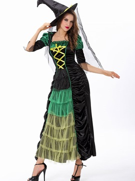 Lace And Layered Front Long Dress With Hat Costume