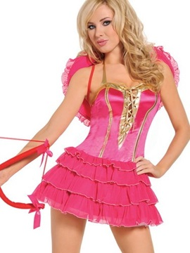 Pink Cupid With Heart Shape Wings Costume