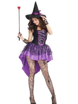 Magic Purple Black Mixed Short Skirt With Charming Hat Cosplay Costumes