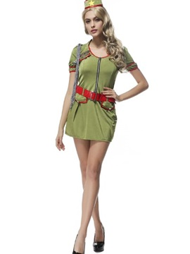 Sexy Officer Style With Charming Red Belt Cosplay Costumes