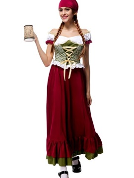 Elegant Solemn Big Red Skirt Beer Girl Modeling Cosplay Costumes