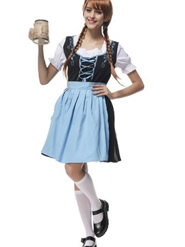 New Fresh Fashion Light Blue Long Skirt Cosplay Costumes
