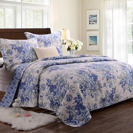Super Comfort Blue and White Flowers Pattern Bed in a Bag