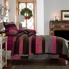 Concise Dark Colors Matching Stripes Bed in a Bag