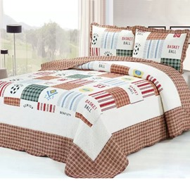 Stylish Basketball and Short Colored Stripes Pattern Bed in a Bag