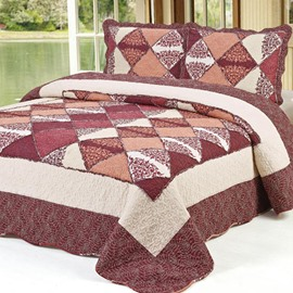 Red and Brick Squares Pattern Ultra Comfortable 3-Piece Bed in a Bag Set