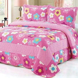 Lovely and Cute Colorful Round Floral Pattern Cotton 3-Piece Bed in a Bag Set