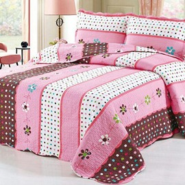 Beautiful Floral and Colorful Dots Stripes Pattern Cotton 3-Piece Bed in a Bag Set