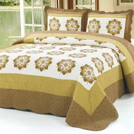 Fresh Coffee Eight-Pointed Round Flower Pattern Cotton 3-Piece Bed in a Bag Set
