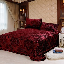 Damask Print Pleuche 3-Piece Bed in a Bag