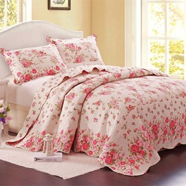 Pink Floral Print Pastoral-Style Patchwork Cotton Queen Size 3-Piece Bed in a Bag