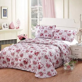 Romantic Red rose Print European Style Cotton 3-Piece Bed in a Bag