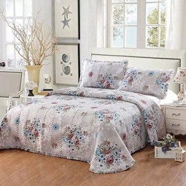 European Style Flowers Design Coffee 3-Piece Cotton Bed in a Bag