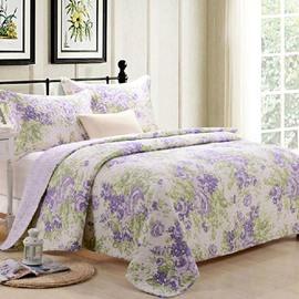 Graceful Light Purple Flowers Print 3-Piece Cotton Bed in a Bag