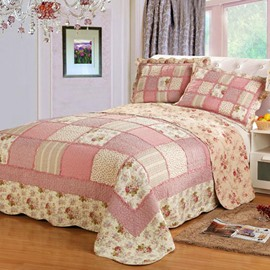Pink Plaid and Floral Prints Patchwork Cotton 3-Piece Bed in a Bag