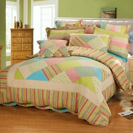 Bright Rainbow Colored Plaid 3-Piece Cotton Bed in a Bag