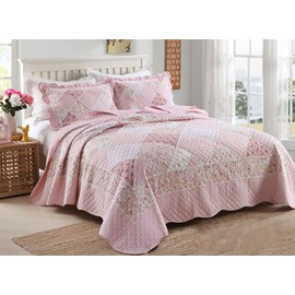 Romantic Stylish Flowers Print Cotton 3-Piece Bed in a Bag
