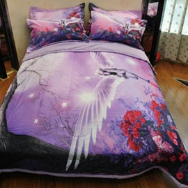 Dreamy Flying Unicorn Print Polyester 3-Piece Bed in a Bag