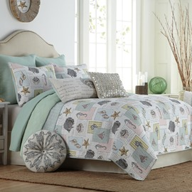 Beach Starfish and Conch Print Patchwork Cotton 3-Piece Bed in a Bag