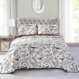 Pastoral Style Birds Print Cotton Bed in a Bag Set