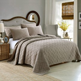 Exquisite Stitchwork Solid Color Cotton Bed in a Bag Set