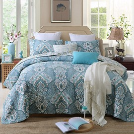 Blue Floral Damask Print Patchwork Cotton Queen Size 3-Piece Bed in a Bag
