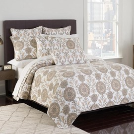 Exotic Style Flower Print 3-Piece Cotton Bed in a Bag