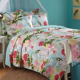 Romantic Red Rose Print 3-Piece Cotton Bed in a Bag