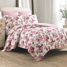 Pink Roses Pastoral-Style Patchwork Cotton 3-Piece Bed in a Bag