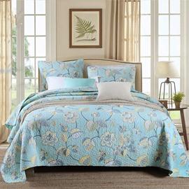Luxurious JacobeanPrint Blue 3-Piece Cotton Bed in a Bag