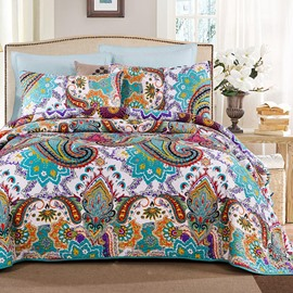 Blue Paisley Print Bohemian Style Patchwork Cotton Queen Size 3-Piece Bed in a Bag