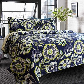 Floral Print Contrast Color 3-Piece Cotton Bed in a Bag