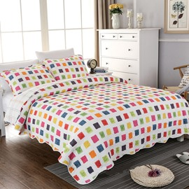 Colorful Checker Print Cotton 3-Piece Bed in a Bag