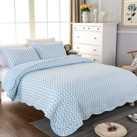 Blue Chevron Print Soft Cotton 3-Piece Bed in a Bag