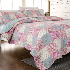 French Style Patchwork Floral Print Cotton 3-Piece Bed in a Bag