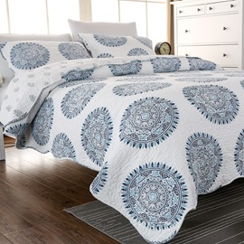 Blue Medallion Print Cotton 3-Piece Bed in a Bag