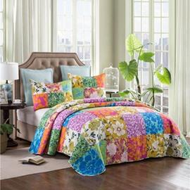 Garden Floral Print Cotton 3-Piece Bed in a Bag