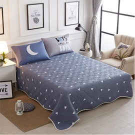 Full Size White Triangle Pattern Blue Cotton 3-Piece Bed in a Bag