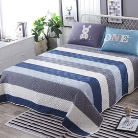 Wide Stripe Cotton Simple Style 3-Piece Bed in a Bag